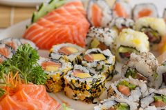 Japanese food. On the plate Royalty Free Stock Images