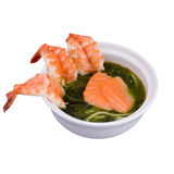 Japanese food. Japanise seafood soup with shrimps Stock Images