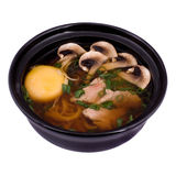 Japanese food. Japanise seafood soup with mushrooms Stock Image