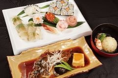 Japanese food. Fresh and delicious sushi in Japan Royalty Free Stock Photography
