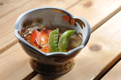 Japanese food. Japanese soup with prawn and vegetable stock photos