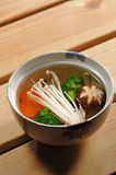 Japanese food. Japanese soup with mix vegetable stock photography