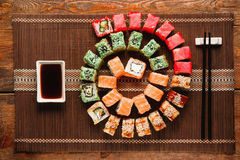 Japanese food art. Great sushi rolls set, flat lay Royalty Free Stock Image