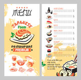 Japanese food for asian cuisine restaurant menu Royalty Free Stock Images