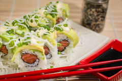 Japanese Food  Avocado Roll. Japanese food, Japanese restaurant, oriental food Royalty Free Stock Images
