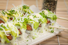 Japanese Food  Avocado Roll. Japanese food, Japanese restaurant, oriental food Stock Photography