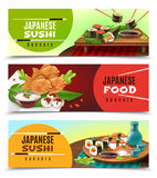 Japanese Food Banners. Set of horizontal banners with japanese food including sushi, sake, fish in soft dough isolated vector illustration Royalty Free Stock Photos