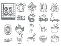 Japanese food black line icons Royalty Free Stock Photography