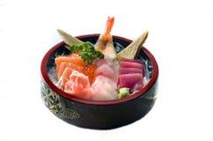 Japanese Food, Bowl of Sashimi. Japanese Food,  Menu in Round Wooden Bowl-  Salmon. Tuna Sashimi Stock Photography