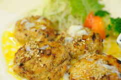 Japanese food, chicken cubes roasted with egg and vegetable. Royalty Free Stock Photography