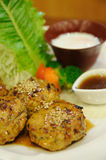 Japanese food, chicken cubes roasted with egg and vegetable. Royalty Free Stock Image