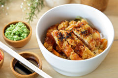 Japanese food chicken katsu don served with soy sauce and wasabi Stock Images
