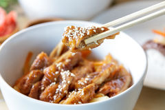 Japanese food chicken katsu don served in white bowl with chopst Stock Photos