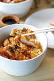 Japanese food chicken katsu don served in white bowl with chopst Stock Image
