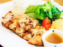 Japanese food, chicken steak with salad Stock Images