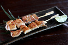 Japanese food chicken Yakitori grilled. Incloseup Royalty Free Stock Image