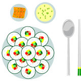 Japanese food with chopsticks. Overhead illustration of Japanese sushi meal with three courses and chopsticks, white background Stock Photography