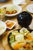 Japanese Food Collage. On wood table Royalty Free Stock Images
