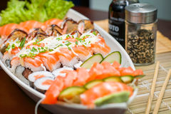 Japanese Food combo. Japanese food, Japanese restaurant, oriental food Royalty Free Stock Photos