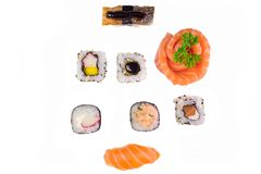 Japanese food combo of sushis and sahimis isolated in white background.  stock image