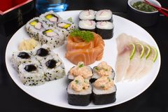 Japanese food combo of sushis and sahimis.  stock images