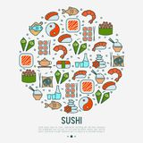 Japanese food concept in circle. With thin line icons of sushi, noodles, tea, rolls, shrimp, fish, sake. Vector illustration for banner, web page or print media Stock Images