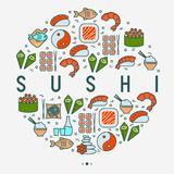 Japanese food concept in circle. With thin line icons of sushi, noodles, tea, rolls, shrimp, fish, sake. Vector illustration for banner, web page or print media Stock Photo