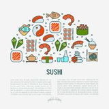 Japanese food concept in half circle. With thin line icons of sushi, noodles, tea, rolls, shrimp, fish, sake. Vector illustration for banner, web page or print Stock Photos
