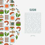 Japanese food concept with thin line icons. Of sushi, noodles, tea, rolls, shrimp, fish, sake. Vector illustration for banner, web page or print media Royalty Free Stock Photos
