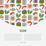 Japanese food concept with thin line icons. Of sushi, noodles, tea, rolls, shrimp, fish, sake. Vector illustration for banner, web page or print media Royalty Free Stock Photography