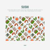 Japanese food concept with thin line icons. Of sushi, noodles, tea, rolls, shrimp, fish, sake. Vector illustration for banner, web page or print media Royalty Free Stock Photo