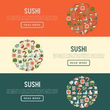Japanese food concept with thin line icons. Of sushi, noodles, tea, rolls, shrimp, fish, sake. Vector illustration for banner, web page or print media Royalty Free Stock Images