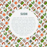 Japanese food concept with thin line icons. Sushi, noodles, tea, rolls, shrimp, fish, sake. Vector illustration for banner, web page, menu or print media Royalty Free Stock Image