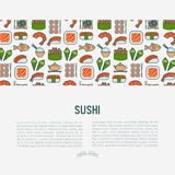 Japanese food concept with thin line icons. Of sushi, noodles, tea, rolls, shrimp, fish, sake. Vector illustration for banner, web page or print media Royalty Free Stock Image
