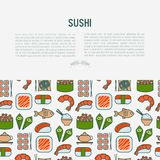Japanese food concept with thin line icons. Of sushi, noodles, tea, rolls, shrimp, fish, sake. Vector illustration for banner, web page or print media Stock Photo