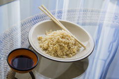 Japanese food: cooking healthy rice Stock Image