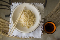Japanese food: cooking healthy rice Royalty Free Stock Images