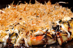 Japanese food : Cooking Okonomiyaki (japan pizza) on pan Stock Photo