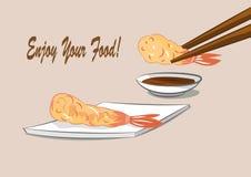 Japanese food deep fried shrimps with sauce (Tempura) Stock Photo