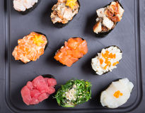 Japanese food. Different sorts of gunkan on a tray royalty free stock photos