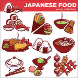 Japanese food dishes vector icons for Japan traditional cuisine restaurant menu. Japanese food traditional dishes set of sushi roll, fish miso ramen or udon Stock Image