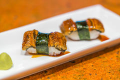 Japanese food : Eel fish sushi roll . Stock Image