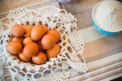 Japanese food, egg in bamboo basket Royalty Free Stock Photo