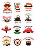 Japanese food emblem set with sushi, seafood rice Royalty Free Stock Photography