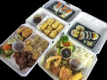 Japanese food in foam boxes Stock Photo
