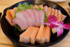 Fresh raw fish mixed sashimi. Japanese food fresh raw fish mixed sashimi Stock Photography