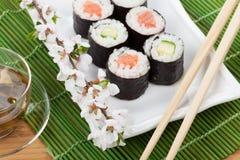 Japanese food and fresh sakura branch Royalty Free Stock Photo