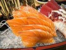 Japanese food, Fresh Salmon and tuna fish slide. On ice royalty free stock photos