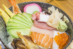 Japanese food. Fresh seafood salmon mussels squid shrimp healthy food Royalty Free Stock Photography