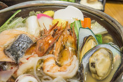 Japanese food. Fresh seafood salmon mussels squid shrimp healthy food Stock Photography